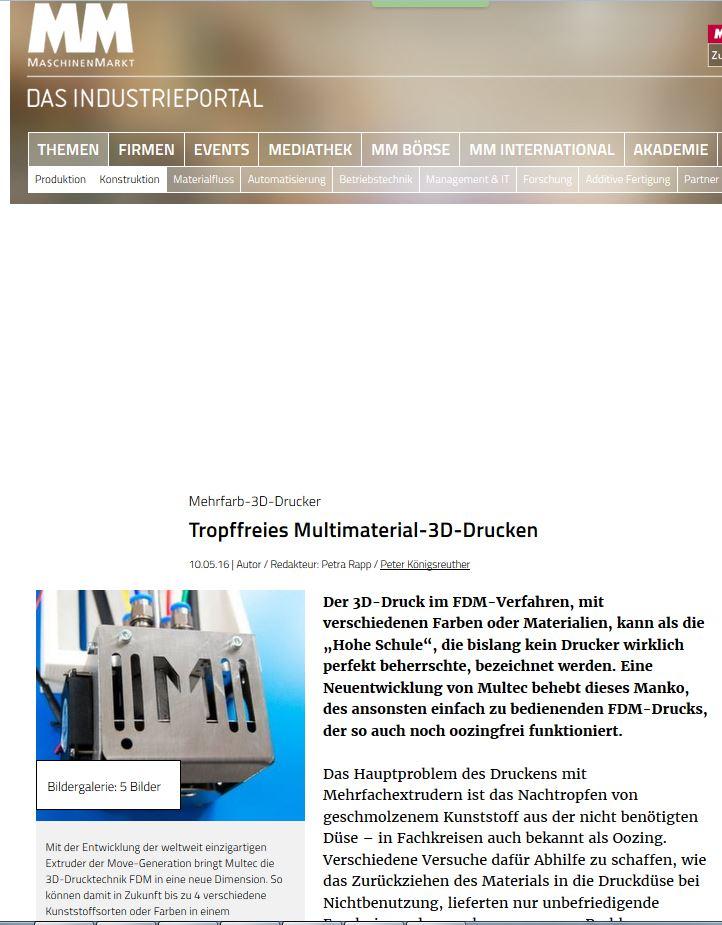 MaschinenMarkt  berichtet ausführlich über Multex4Move, den neuen 4-Farb-Drucker