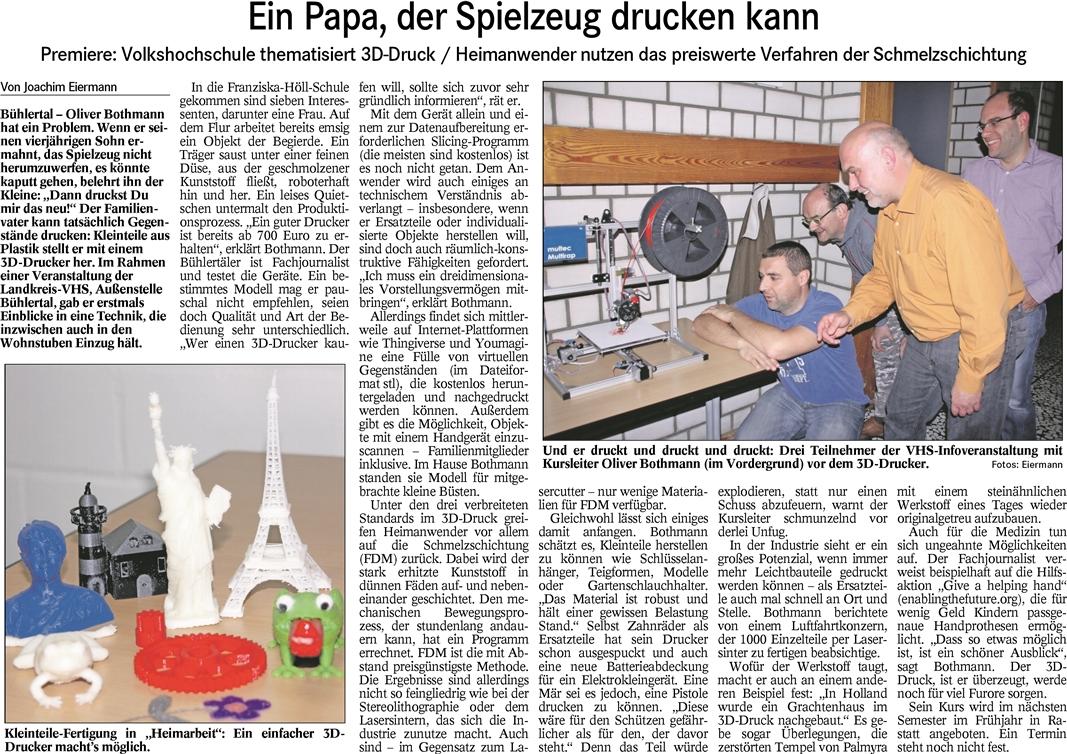 Badisches Tagblatt vom 20.10.2015